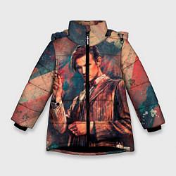 Куртка зимняя для девочки Доктор кто цвета 3D-черный — фото 1