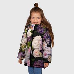 Детская зимняя куртка для девочки с принтом Весенние цветы, цвет: 3D-черный, артикул: 10067033306065 — фото 2