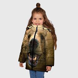 Куртка зимняя для девочки Взгляд медведя цвета 3D-черный — фото 2