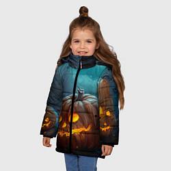 Детская зимняя куртка для девочки с принтом Тыква, цвет: 3D-черный, артикул: 10071139706065 — фото 2