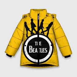 Куртка зимняя для девочки The Beatles: Yellow Vinyl цвета 3D-черный — фото 1