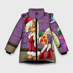 Детская зимняя куртка для девочки с принтом Pinky Pie: Xmas, цвет: 3D-черный, артикул: 10076390606065 — фото 1