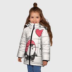 Детская зимняя куртка для девочки с принтом Влюбленный пингвин, цвет: 3D-черный, артикул: 10076966606065 — фото 2