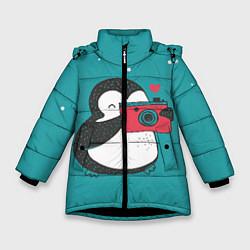 Куртка зимняя для девочки Пингвин с фотоаппаратом цвета 3D-черный — фото 1