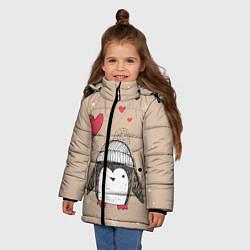 Куртка зимняя для девочки Пингвин с шариком цвета 3D-черный — фото 2