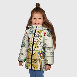 Куртка зимняя для девочки Червовая дама цвета 3D-черный — фото 2