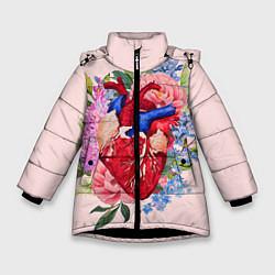 Куртка зимняя для девочки Цветочное сердце цвета 3D-черный — фото 1