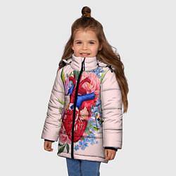 Детская зимняя куртка для девочки с принтом Цветочное сердце, цвет: 3D-черный, артикул: 10079271506065 — фото 2