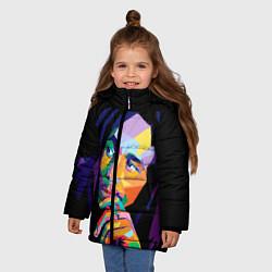 Куртка зимняя для девочки Bob Marley: Art цвета 3D-черный — фото 2