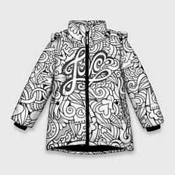 Куртка зимняя для девочки Love графика цвета 3D-черный — фото 1