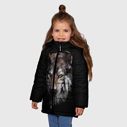 Куртка зимняя для девочки Волк-шаман цвета 3D-черный — фото 2