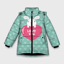 Куртка зимняя для девочки Rabbit: Love you цвета 3D-черный — фото 1