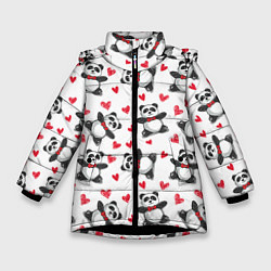 Куртка зимняя для девочки Любимые панды цвета 3D-черный — фото 1