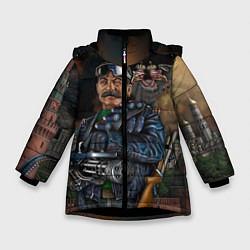 Куртка зимняя для девочки Сталин военный цвета 3D-черный — фото 1