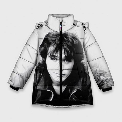 Зимняя куртка для девочки Кино: Виктор Цой / 3D-Черный – фото 1