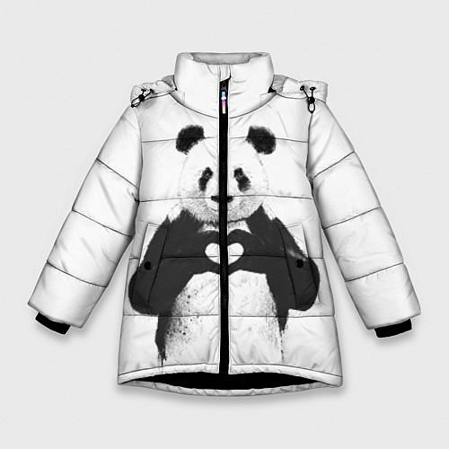 Зимняя куртка для девочки Panda Love / 3D-Черный – фото 1