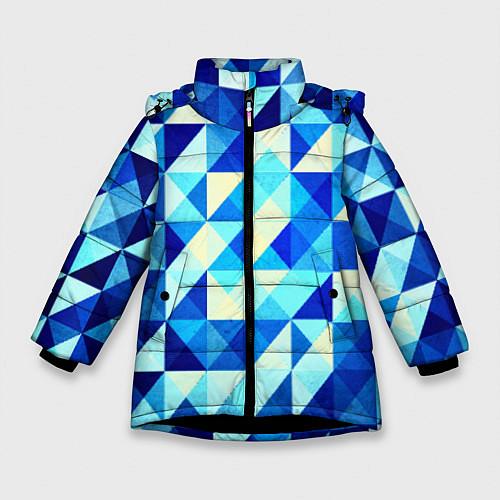 Зимняя куртка для девочки Синяя геометрия / 3D-Черный – фото 1