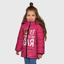 Куртка зимняя для девочки Её величество Юля цвета 3D-черный — фото 2