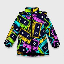 Куртка зимняя для девочки Неоновые кассеты цвета 3D-черный — фото 1