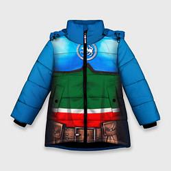 Детская зимняя куртка для девочки с принтом Капитан Татарстан, цвет: 3D-черный, артикул: 10086777806065 — фото 1