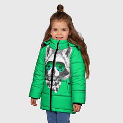 Куртка зимняя для девочки Енот в очках цвета 3D-черный — фото 2