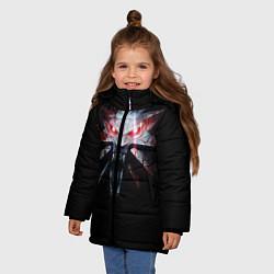 Куртка зимняя для девочки Медальон цвета 3D-черный — фото 2