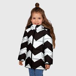 Куртка зимняя для девочки Полосы цвета 3D-черный — фото 2