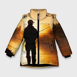 Куртка зимняя для девочки Вечерний рыбак цвета 3D-черный — фото 1