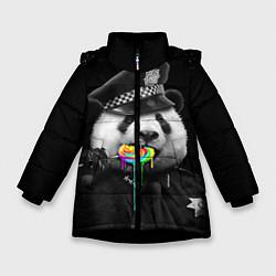 Куртка зимняя для девочки Панда с карамелью цвета 3D-черный — фото 1