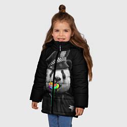Куртка зимняя для девочки Панда с карамелью цвета 3D-черный — фото 2