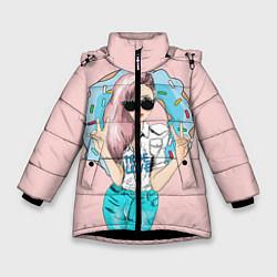 Куртка зимняя для девочки Моя любовь - пончики цвета 3D-черный — фото 1