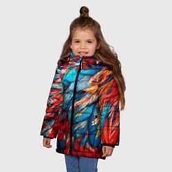 Куртка зимняя для девочки Перья цвета 3D-черный — фото 2
