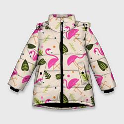 Куртка зимняя для девочки Нежный фламинго цвета 3D-черный — фото 1