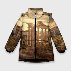 Куртка зимняя для девочки Римское солнце цвета 3D-черный — фото 1
