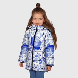 Куртка зимняя для девочки Гжель 2 цвета 3D-черный — фото 2