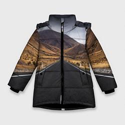 Куртка зимняя для девочки Пейзаж горная трасса цвета 3D-черный — фото 1
