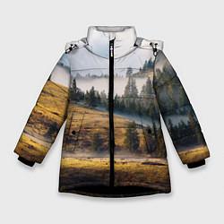 Куртка зимняя для девочки Туман в горах цвета 3D-черный — фото 1