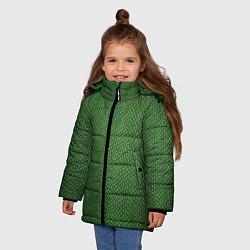 Куртка зимняя для девочки Змеиная зеленая кожа цвета 3D-черный — фото 2
