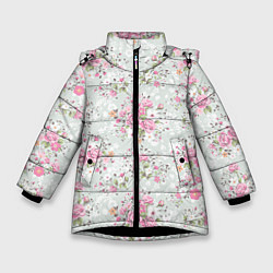 Куртка зимняя для девочки Flower pattern цвета 3D-черный — фото 1