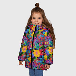 Куртка зимняя для девочки Яркие цветы цвета 3D-черный — фото 2