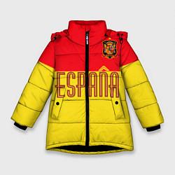 Куртка зимняя для девочки Сборная Испании: Евро 2016 цвета 3D-черный — фото 1