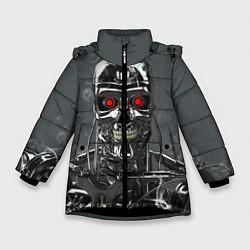 Куртка зимняя для девочки Скелет Терминатора цвета 3D-черный — фото 1