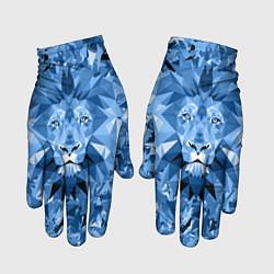 Перчатки Сине-бело-голубой лев цвета 3D — фото 1