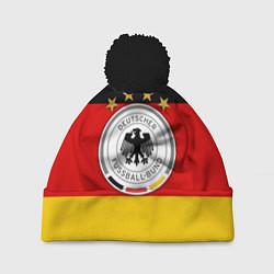 Шапка с помпоном Немецкий футбол цвета 3D-черный — фото 1