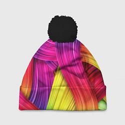 Шапка с помпоном Абстракция цвета цвета 3D-черный — фото 1