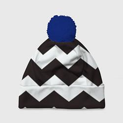 Шапка с помпоном Полосы цвета 3D-тёмно-синий — фото 1