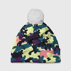 Шапка с помпоном Камуфляж: желтый/розовый/черный цвета 3D-белый — фото 1