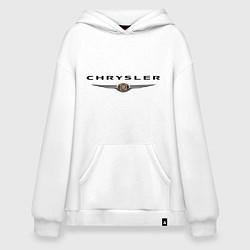 Толстовка-худи оверсайз Chrysler logo цвета белый — фото 1