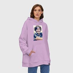 Толстовка-худи оверсайз Keep Calm & Love Harry Styles цвета лаванда — фото 2