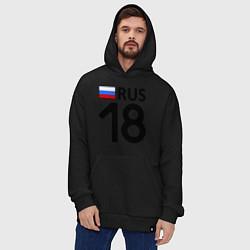 Толстовка-худи оверсайз RUS 18 цвета черный — фото 2